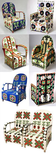 Africa | Beaded chairs from the Yoruba people of Nigeria  | Chair frame, fabric embroidered with glass beads |  ca. mid to late 20th century