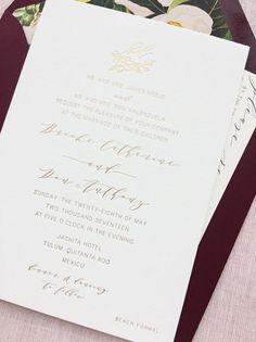 Gold Foil Minimal Wedding Invitation Bohemian | Tulum, Mexico
