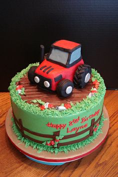 ) with buttercream and fondant decorations. Tractor is RKT covered in fondant. Tractor Birthday Cakes, 2 Birthday Cake, Tractor Cakes, Fondant Cupcake Toppers, Cupcake Cakes, Farm Cake, Number Cakes, Cupcakes, Occasion Cakes