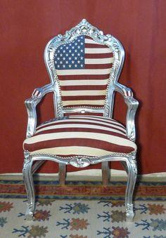 Poltrona legno argento/tessuto bandiera USA