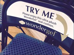 Even in-store I was unsure of the final use of WonderGel, but I did experiment with the two Try Me samples complete with supporting chairs. A soft touch for your bottom. No WonderGel cushions were . Online To Offline, Seat Cushions, Pillows, Sitting Area, Two By Two, Plush, Signages, Benches, Experiment