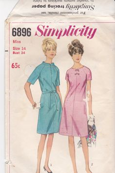 1960s Simplicity No 6896 Sewing Pattern Misses by jennylouvintage