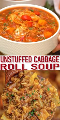 Cabbage Roll Soup Recipe – Sweet and Savory Meals Cabbage Roll Soup is hearty and filled with flavorful cabbage rolls. A perfect comfort dish filled with ground beef and veggies to enjoy during the colder winter days. Cabbage Rolls Recipe, Cabbage Soup Recipes, Easy Soup Recipes, Beef Recipes, Cooking Recipes, Healthy Recipes, Pastry Recipes, Cabbage Meals, Recipes With Tomato Soup And Chicken