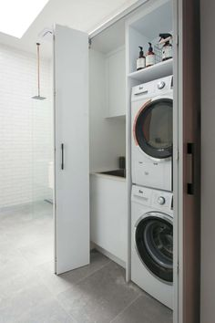 A European laundry is a hidden laundry, one that is tucked into a cupboard or wall cavity or hidden away behind bifold or pocket doors Laundry In Bathroom, Concealed Laundry, Laundry Doors, Bathroom Makeover, Hidden Laundry, Utility Cupboard, European Laundry, Laundry, Laundry Room Doors