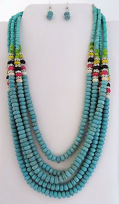 COWGIRL Bling TURQUOISE Rhinestones Southwestern Indian style Gypsy NECKLACE SET our prices are WAY BELOW retail! ALL JEWELRY SHIPS FREE! BAHA Ranch Western Wear www.baharanchwesternwear.com