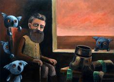 Ned Kelly and angry koalas, acrylics on canvas by Max Horst Sokolowski Ned Kelly, Acrylics, Pirates, Respect, Iron, Canvas, People, Painting, Koalas