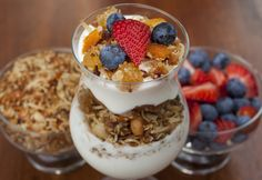 Steel cut oats, tropical fruits, quinoa, coconut, healthy yogurt and fresh berries combine in this delicious breakfast or brunch recipe. Create a parfait bar by settiing out all the ingredients and letting your family layer away!