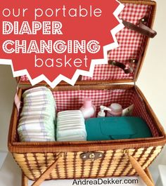 Portable Diaper-Changing Basket...would make a great baby shower gift!