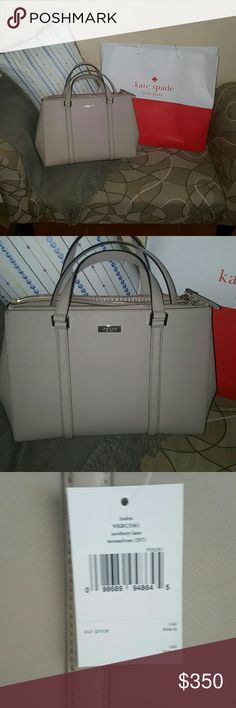 KATE SPADE Loden bag Beautiful kate spade loden bag, brand new with tags still attached. Has an adjustable/detachable long strap for over the shoulder carry as well. Bag has 3 separate compartments. The two compartments closest to the sides of the bag are zippered and the center compartment has snap button closure. Color is called moussfrost. NO TRADES/ OPEN TO ALL OFFERS kate spade Bags