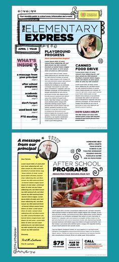 Elementary school newsletter design template by StockLayouts. - New Site Newsletter Design Templates, School Newsletter Template, Newsletter Layout, Classroom Newsletter, Newsletter Ideas, School Newsletters, Minimal Web Design, Elementary Bulletin Boards, Elementary Schools