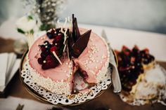 Strawberry cheesecake with chocolate shards | Photography by Fiona Vail