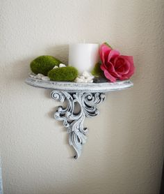 Vintage Wood Wall Candle Holders from Ivanka's little treasures-Black an...