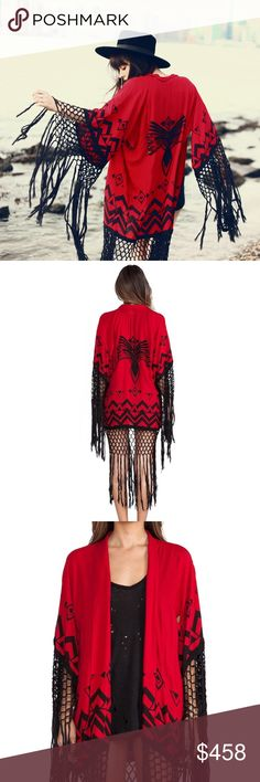 RARE ❤ SPELL & THE GYPSY COLLECTIVE OPIUM KIMONO RARE Opium kimono red with black beaded thunderbird on back. One size. Worn once. Perfect condition. Great valentines gift! ❤ NO TRADES. Spell & The Gypsy Collective Sweaters Shrugs & Ponchos