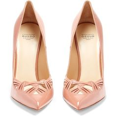 Francesco Russo Point-toe patent-leather pumps (€705) ❤ liked on Polyvore featuring shoes, pumps, pink shoes, pointy toe stiletto pumps, pointed toe stilettos, patent pumps and stiletto pumps