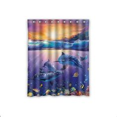 Custom Undersea World Dophins Fishes Window Curtains/drap...