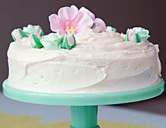 Jade green milk glass cake stand at the Primrose Bakery