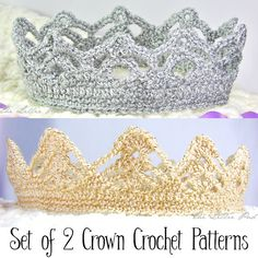 Crochet Crown PATTERNS   for Girl and Boy  Set of by TheLilliePad