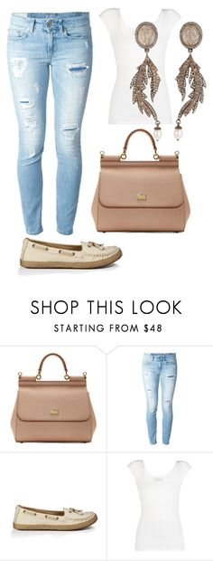 """""""221. Simple Casual White Tee and Destroyed Denim. Neutral bag Dolce and Gabbana and slippers. Eye catching dangle earrings."""" by kohlanndesigns ❤ liked on Polyvore featuring Dolce&Gabbana, Dondup, UGG Australia, BCBGMAXAZRIA and Sevan Biçakçi"""