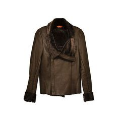 Alice + Olivia - Shearling Trimmed Leather Jacket - Brown - Size Small via Polyvore