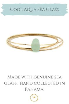 Dainty gold sea glass bracelet made with authentic sea glass from Panama. Bracelet Making, Jewelry Making, Bangle Bracelets, Bangles, Dainty Gold Jewelry, Sea Glass Jewelry, 14 Karat Gold, Jewelry Shop, Panama