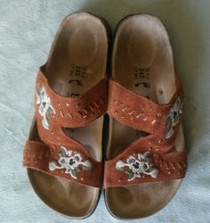 a21bd2e75307 Birkenstock Betula Zara Rust Suede Sandal Floral Embroidered Slide Sz 38   Betula  Slides Suede