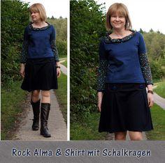 Rock Alma und Schirt mit Schalkragen by #Allerlieblichst