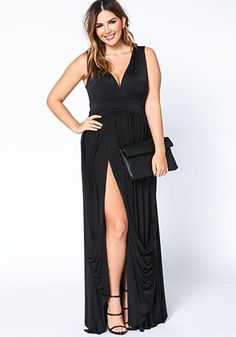 Plus Sizes Black Drape Maxi Dress with Slit - Debshops.com
