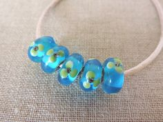 Turquoise And Green Bead X 5. Murano Lampwork by Charmalushus