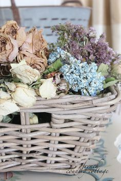 basket of dried summer flowers