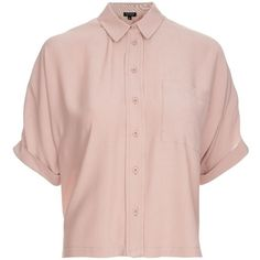 Topshop Dusty Pink Short Sleeve Roll Up Shirt (145 PLN) ❤ liked on Polyvore featuring tops, shirts, blouses, short sleeve button down shirts, short sleeve collared shirt, button down collar shirts, button up collared shirts and dusty pink top