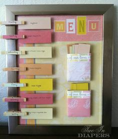 great DIY menu board--making dinner time much easier at a glance.