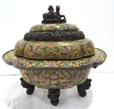 Chinese Palace Size Cloisonne & Bronze Incense Burner