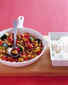 Spiced Chickpea and Zucchini Saute - Martha Stewart Recipes Add Kalamati olives, red peppers and vinaigrette and serve cold too