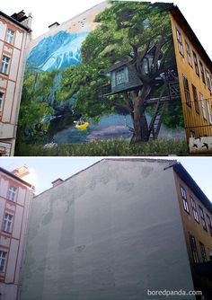 These amazing street art transformations will make you amazed. Dull and boring buildings transformed beautifully and perfectly into wonderful street art. 3d Street Art, Street Mural, Urban Street Art, Amazing Street Art, Street Art Graffiti, Street Artists, Urban Art, Art Banksy, Graffiti Murals