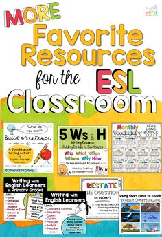 MORE Favorite Resources for Teaching English Learners! English Language Learners Elementary, Teaching English, Esl Resources, Teacher Resources, Teacher Blogs, Ell Students, Esl Lesson Plans, Esl Lessons, Esl Writing Activities