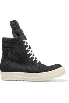 RICK OWENS Geobasket Brushed-Suede Sneakers. #rickowens #shoes #sneakers