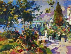 Hand painted oil painting reproduction on canvas of Crimea gursuf 1917 by artist Konstantin Korovin as gift or decoration by customer order. Claude Monet, Degas Artist, Art Nouveau, Anime Comics, 11. September, Guache, Oil Painting Reproductions, Russian Art, Art Pictures