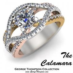 The Calamara, a White Gold, Yellow Gold, Rose Gold and Diamond engagement ring by @George Thompson