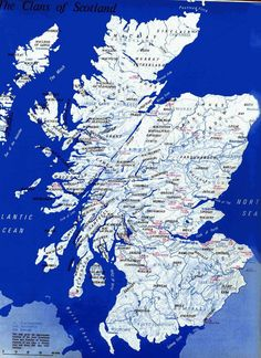Map of Scotland and places of surnames:
