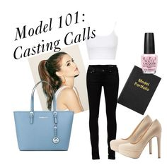 """Model 101: Casting Calls"" by banzi-k on Polyvore featuring Smythson, Yves Saint Laurent, Qupid, Topshop, MICHAEL Michael Kors and OPI"