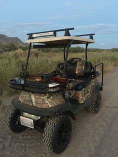 Custom Golf Cart club car precedent off road camo realtree hunting guns lifted led