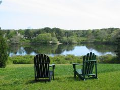 Eastham summer vacation rental home in Cape Cod. Waterfront on Eastham's Pilgrim Knoll Outdoor Chairs, Outdoor Furniture, Outdoor Decor, Cape Cod Vacation Rentals, Beach Chairs, Great View, Pilgrim, Pond, Cottage