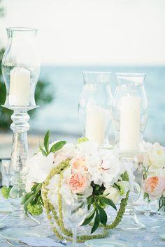 #centerpiece, #candle  Photography: Binary Flips - binaryflips.com  Read More: http://www.stylemepretty.com/little-black-book-blog/2014/07/21/beach-wedding-at-the-ocean-reef-club/