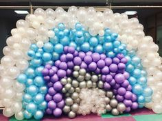 A nice princess elsa themed balloon wall we did at a recent kids birthday party.