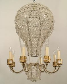 French 1930s hot air balloon shaped chandelier with basket supporting 8 gilt metal arms with beaded crystal trim