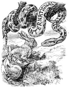 """Punch Cartoon, 1920 (satirizing the perceived weaknesses of the League of Nations): Moral Suasion. The Rabbit. """"My offensive equipment being practically nil, it remains for me to fascinate him with the power of my eye."""""""