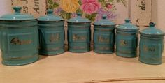 Rare Vintage French Enameled Canister Set ~ Six Canisters ~ Tiffany Blue