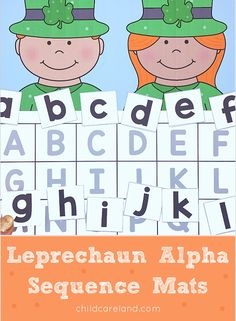 Leprechaun alpha sequence mat for letter recognition review. Early Learning Activities, Sequencing Activities, Classroom Activities, Number Sequence, Letter Recognition, Leprechaun, Card Stock, Alphabet, Kindergarten