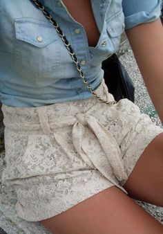 Chambray + Lace Short <3 All my granddaughters would look great in these . . .