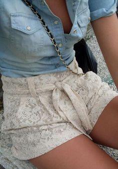 Chambray + Lace Short <3